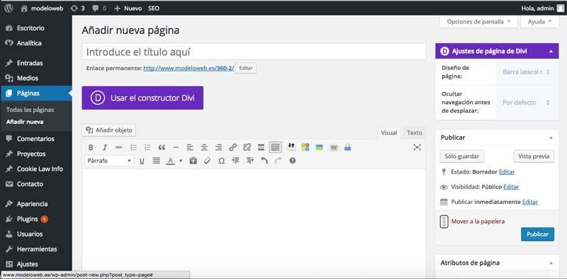 usar el constructor visual en una página