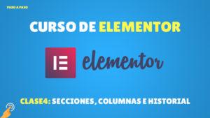 Curso de Elementor: Secciones, columnas e historial