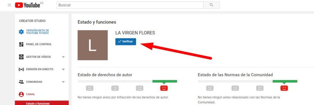 paso 1 para verificar canal youtube