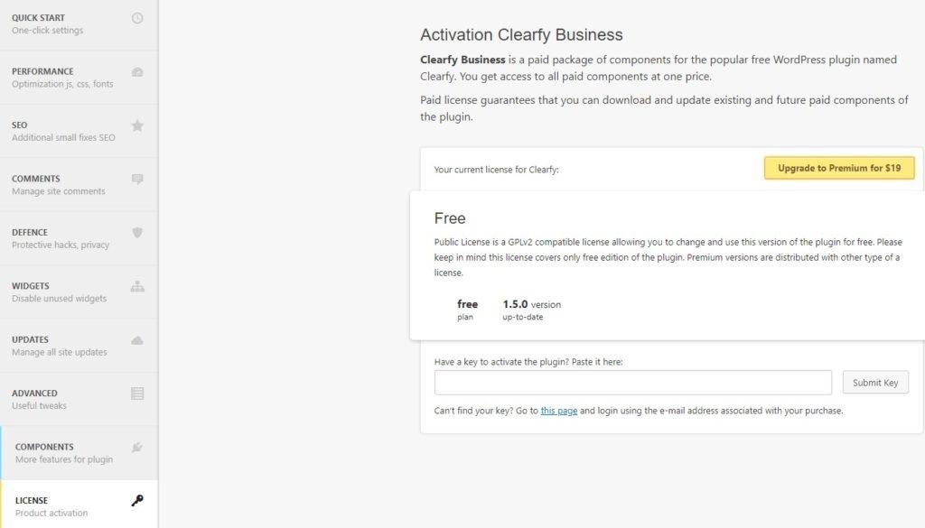 activar licencia premium clearfy