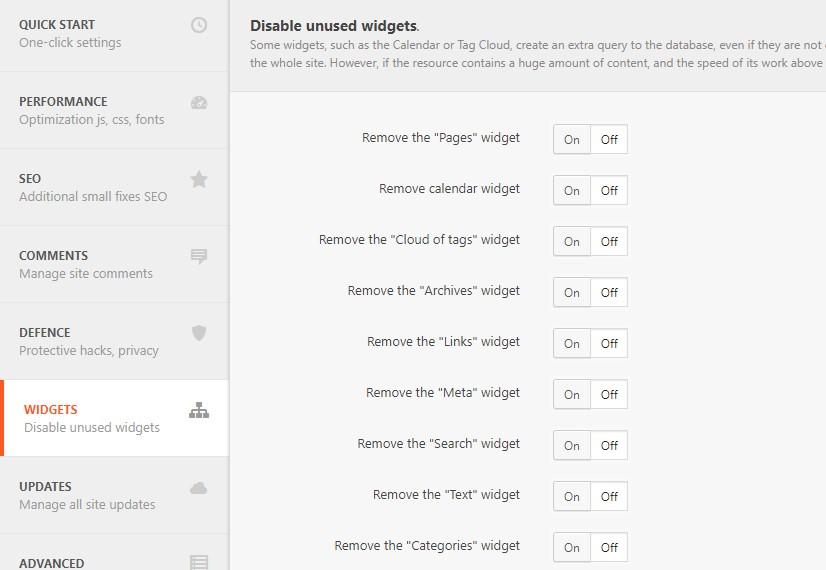 desactivar widgets wordpress