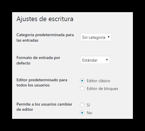habilitar editor clasico