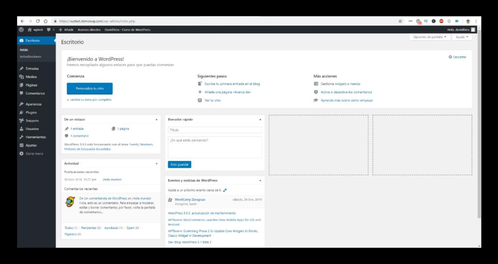 Instalación de WordPress  vacía