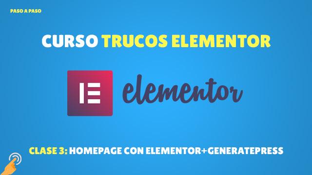 Crear página de inicio con elementor y generatepress
