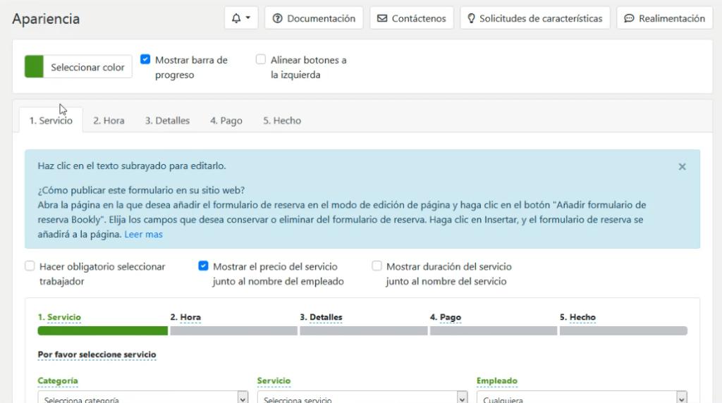 Apariencia de formulario en Bookly sistema de reservas en WordPress DavidIbiza