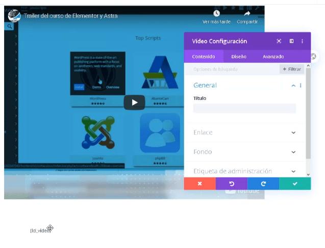 Bloque video en Divi Learndash kit davidibiza