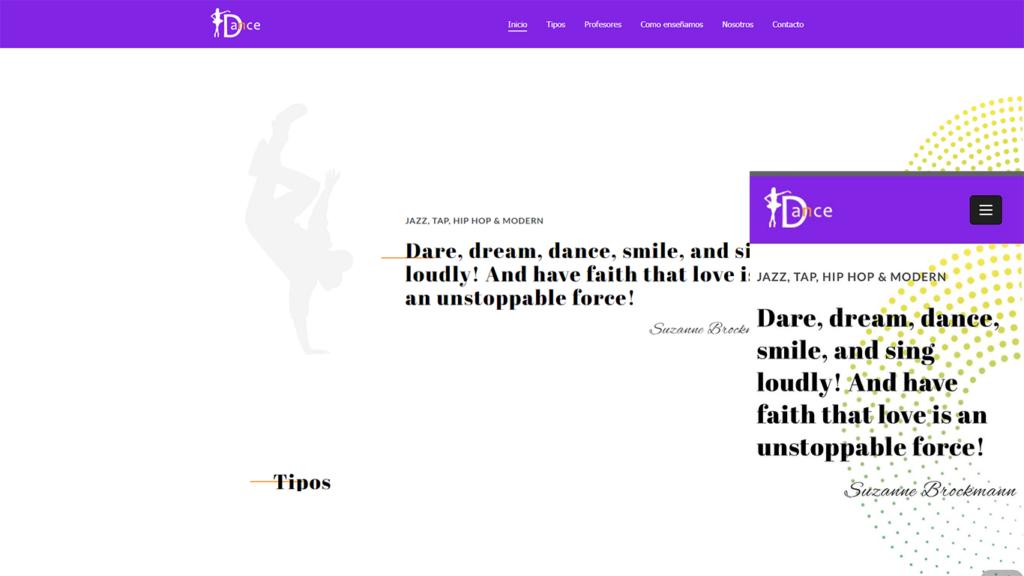 como crear una web para academia de baile